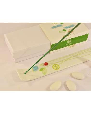 omboniera matrimonio portaincenso in ceramica con decorazione floreale verde dettaglio