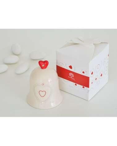 Bomboniera matrimonio campanella in ceramica con decorazione cuore