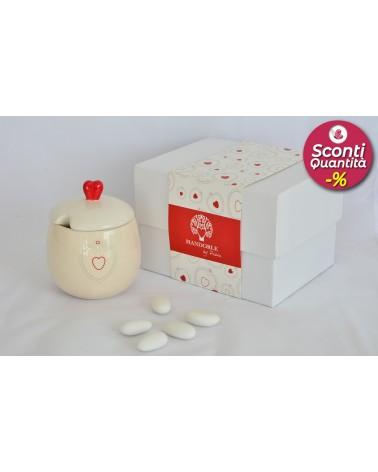 Bomboniera matrimonio zuccheriera in ceramica con decorazione cuore rosso