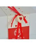 Confezione bomboniera matrimonio in ceramica con decorazione cuore rosso