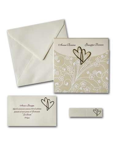 Partecipazione matrimonio elegante con invito Bustina Cuori