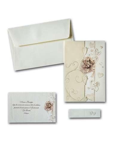 Partecipazione Bouquet con inserto carta traslucid