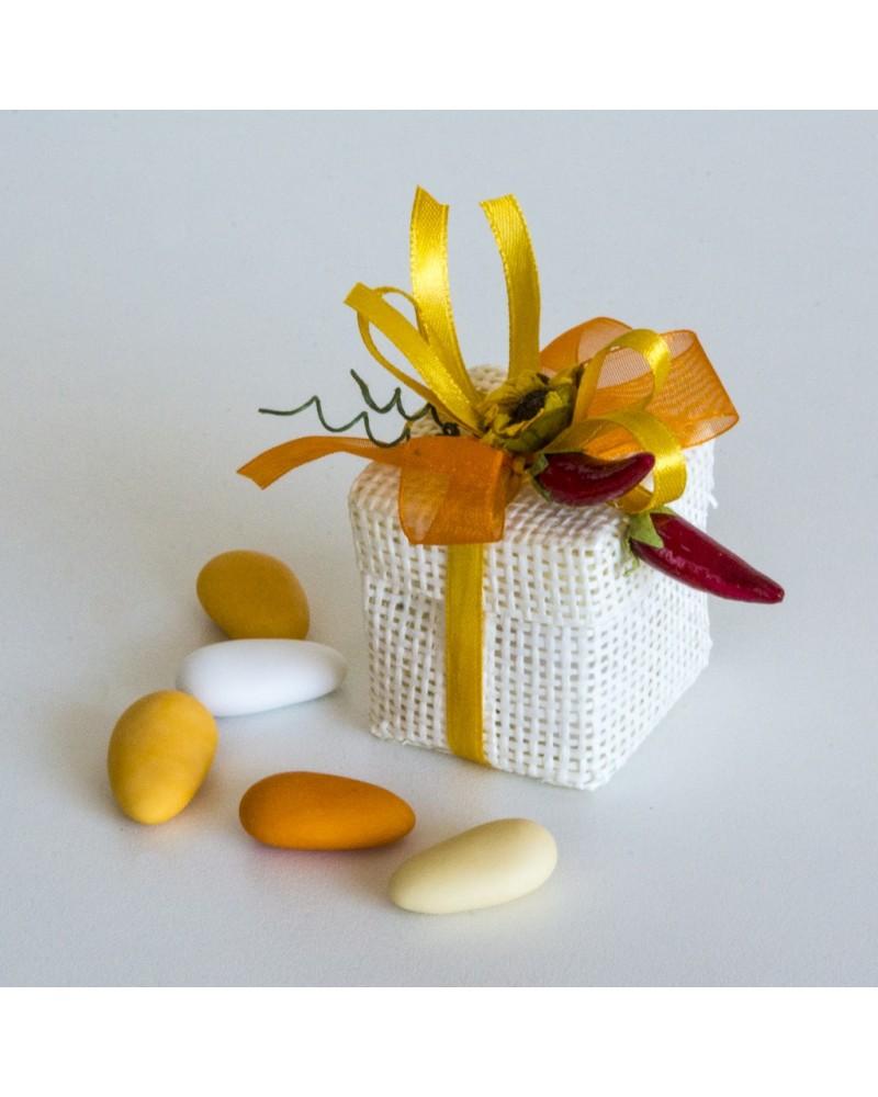 Bomboniere o Segnaposti Matrimonio, Comunione o Cresima Box iuta cotone con Girasole
