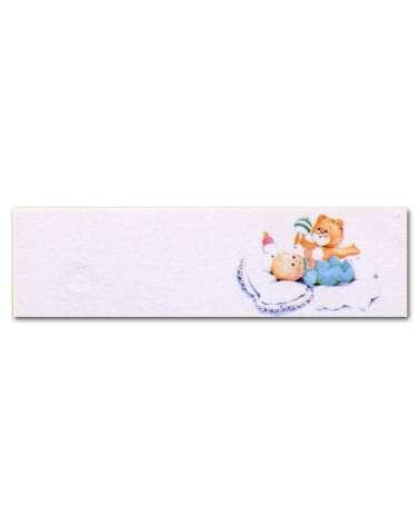 Biglietti bomboniera battesimo tutina blu e orsetto