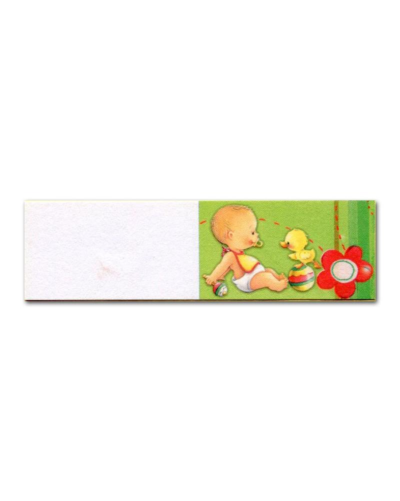 Biglietti bomboniera battesimo verde con anatroccolo