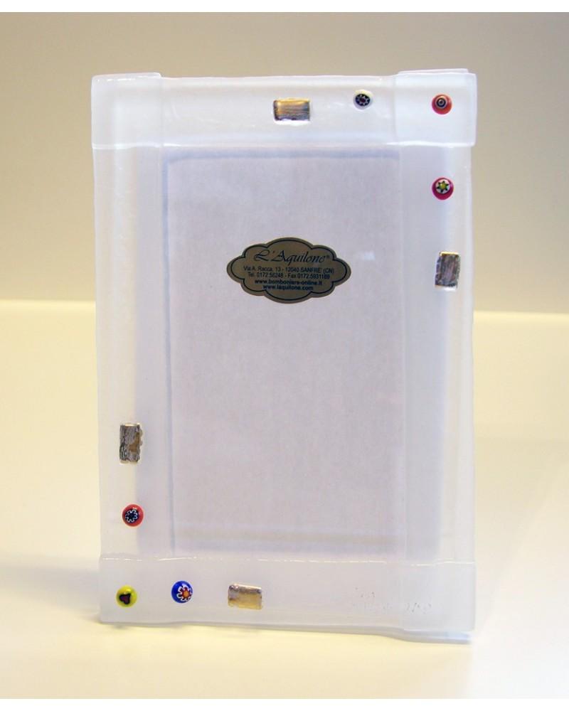 Bomboniera portafoto vetrofusione bianco opaco con murrine e oro zecchino