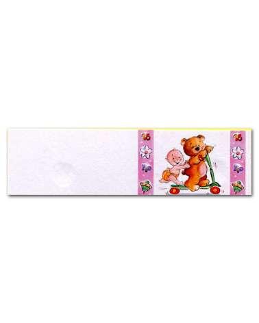 Biglietti bomboniera orsetto in monotapattino rosa