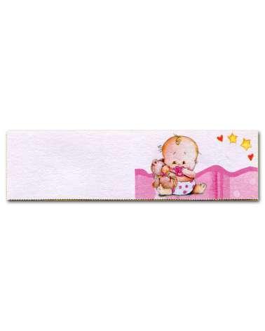 Biglietti bomboniera battesimo bimba su copertina rosa