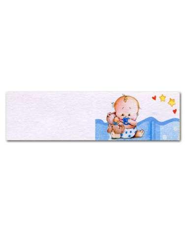 Biglietti bomboniera battesimo bimbo su copertina azzurro