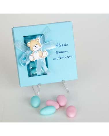 """Bomboniere Battesimo e Nascita. Segnaposto box personalizzato """"Baby orsetto"""""""
