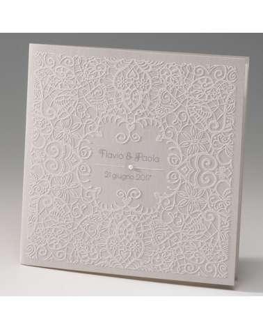 """Partecipazione Matrimonio """"Pizzo Deluxe"""" con invito incluso in set con segnaposto, menù e scatola portaconfetti"""