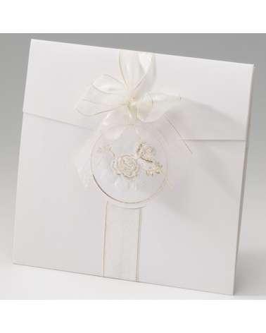 """Partecipazione nozze: """"Rose d'oro"""" con decorazione dorata"""