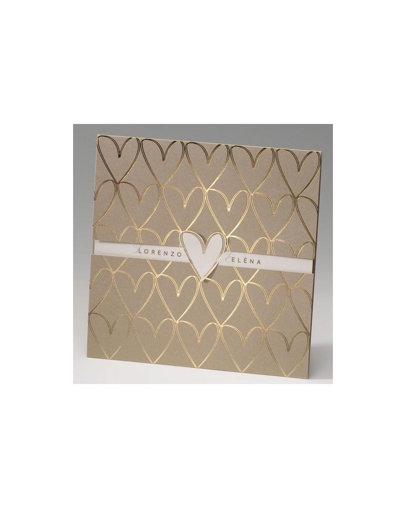 """Partecipazione di matrimonio: """"Golden hearts """" decori dorati a forma di cuore"""