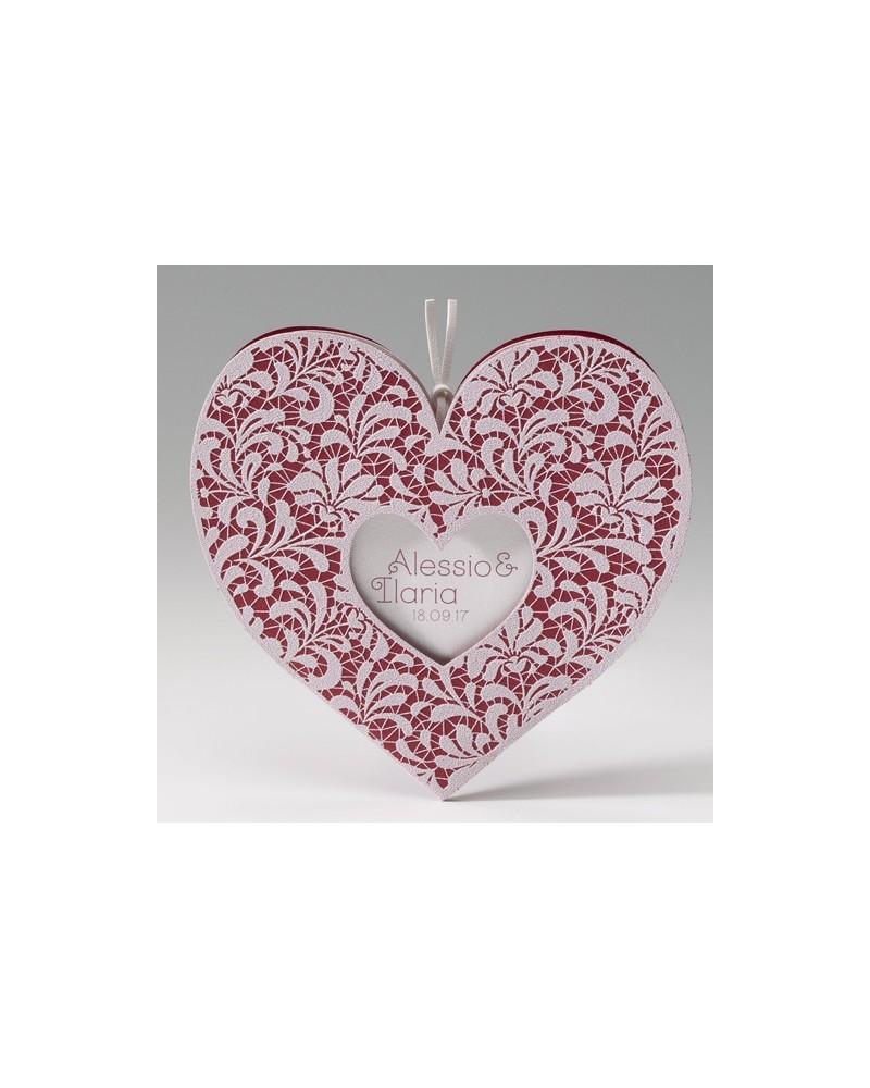 Partecipazione matrimonio a forma di cuore rosso