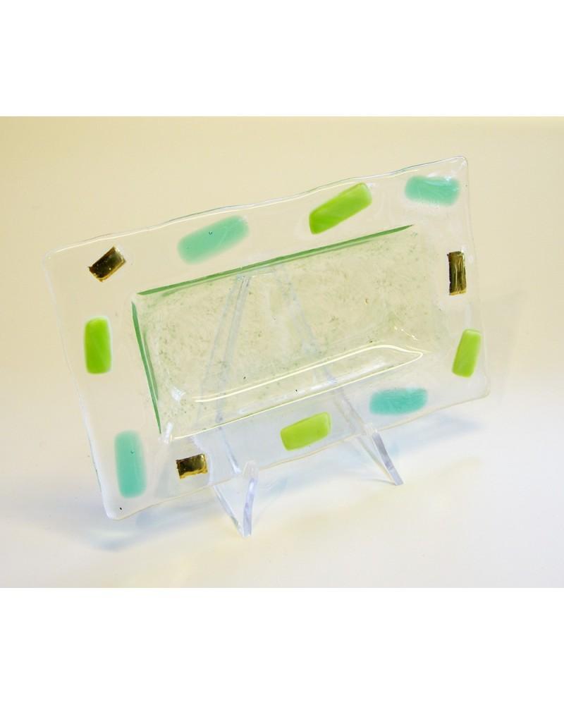 Bomboniera piattino inserti vetro verde e oro zecchino
