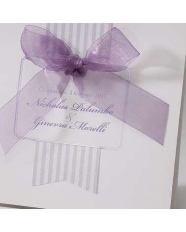 Partecipazioni matrimonio con nastro e strisce lilla