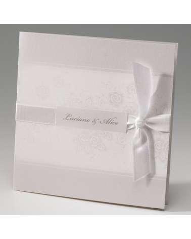 """Partecipazione Matrimonio """"Motivo floreale c/invito incluso"""""""