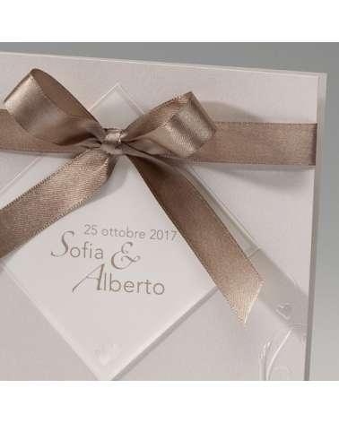 Partecipazione Matrimonio Elegante con nastro tortora con invito incluso