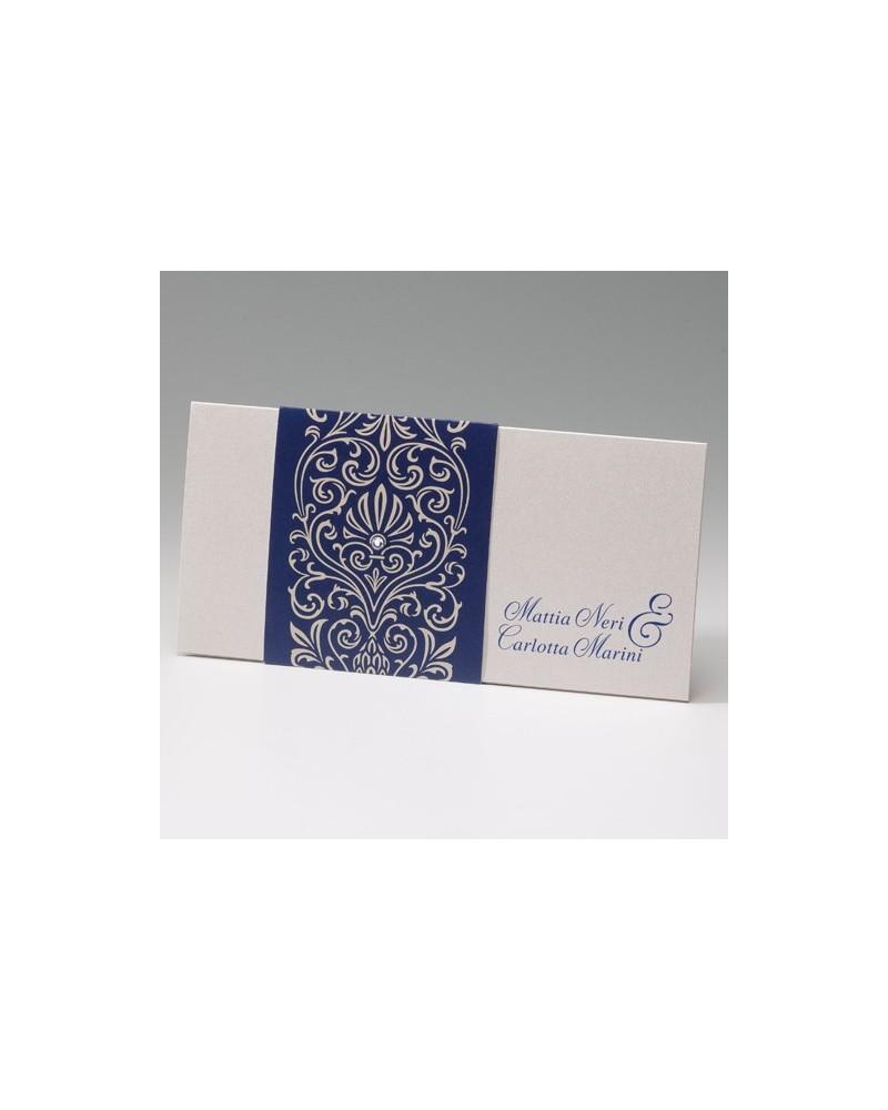"""Partecipazione matrimonio: """"Fascia damascata blu"""""""