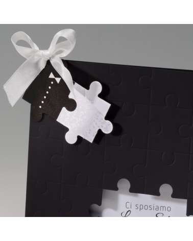 "Elegante partecipazione nozze: ""Puzzle Lei & Lui"""