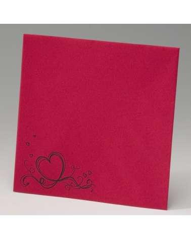 """Partecipazione matrimonio elegante: """"Cuore rosso su cartoncino nero"""""""