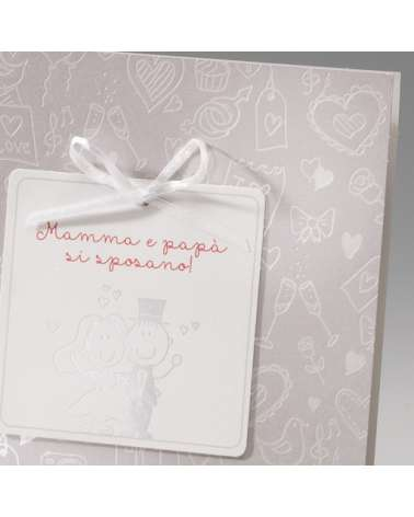 """Partecipazione matrimonio: """"Sposi con cornice cuore"""" invito incluso"""