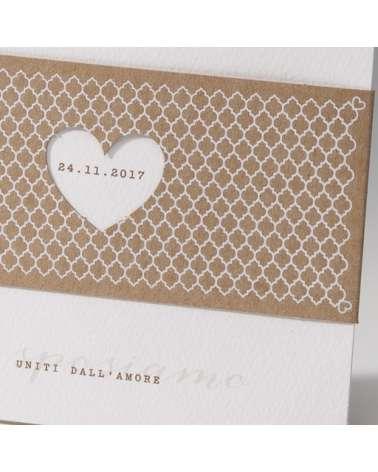 """Partecipazione nozze: """"Eco fascia con cuore """""""