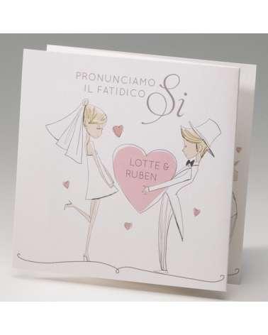 """Partecipazione matrimonio """"Grafica sposi con cuore rosa"""""""