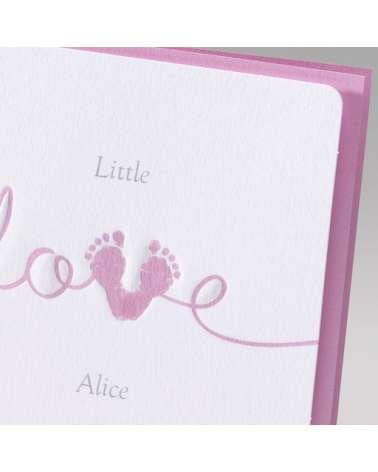 "Biglietto nascita bimba ""Love rosa"""