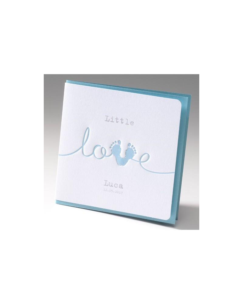 """Biglietto nascita bimbo """"Love azzurro"""""""