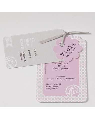 """Invito battesimo bimba """"Biglietto viaggio rosa"""" con nuvoletta con nome"""