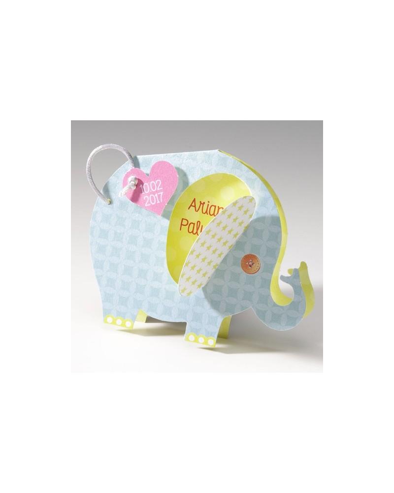 Biglietto nascita bimbo e bimba a forma di Elefantino
