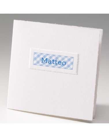 """Partecipazione Battesimo """"Quadrato con etichetta nome"""""""