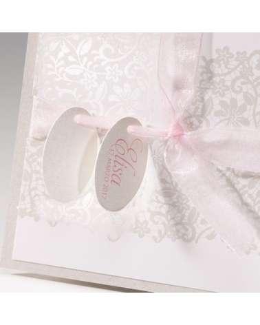 """Partecipazione Battesimo """"Elegance rosa"""""""