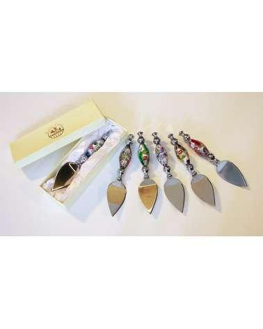 Bomboniera coltello parmigiano murano con murrine
