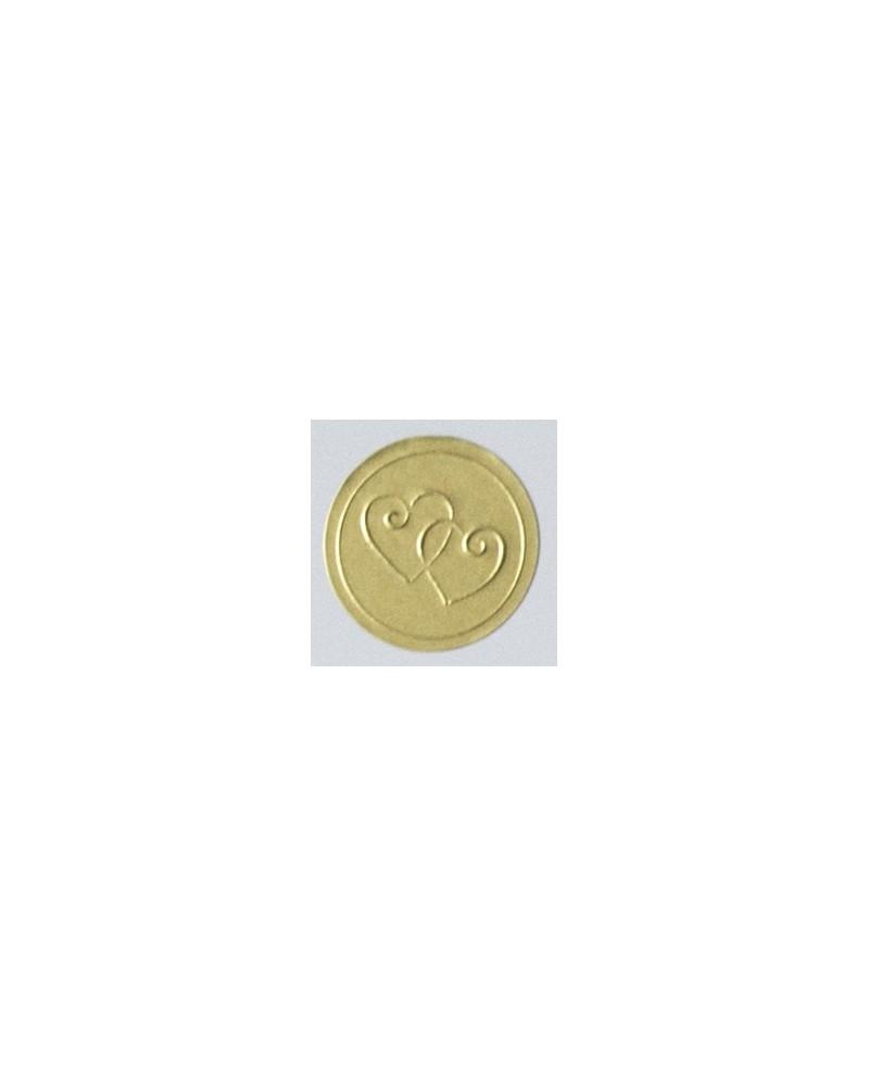 Sigillo adesivo partecipazioni dorato cuori - 10 Pz.
