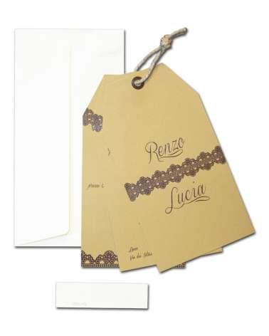 Partecipazione di nozze Etichetta con pizzo