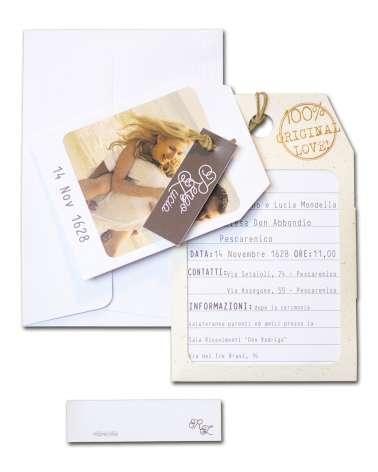 Partecipazione cartellino valigia con foto sposi