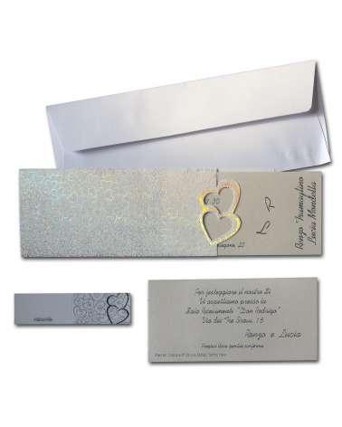 Partecipazioni cuori argento olografico