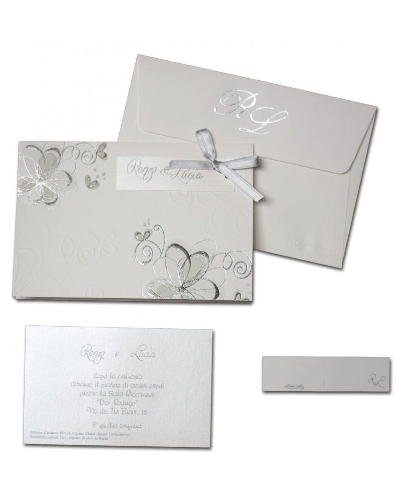 Partecipazione con fiori in argento e in rilievo