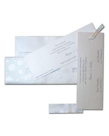 Partecipazione matrimonio Pois carta perlata con invito