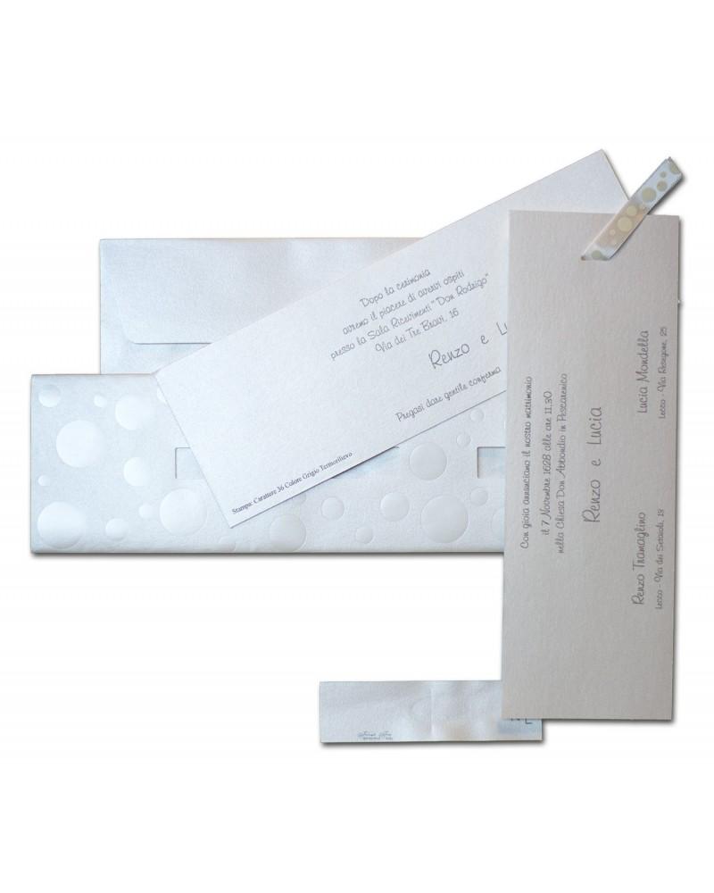 Partecipazione Pois carta perlata con invito