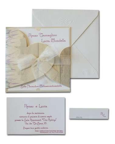 Partecipazione floreale carta perlata avorio