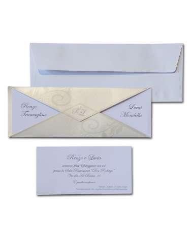 Partecipazione doppia punta in carta perlata