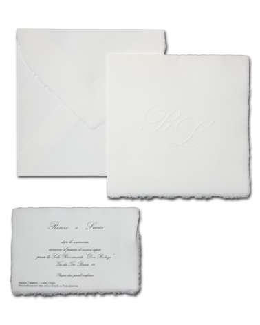 Partecipazione bianca quadrata fatta a mano