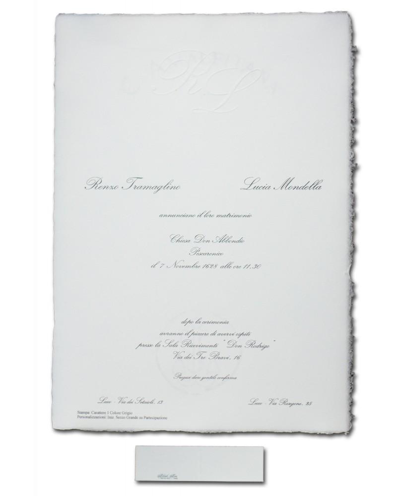Partecipazione bianca A4 fatta a mano