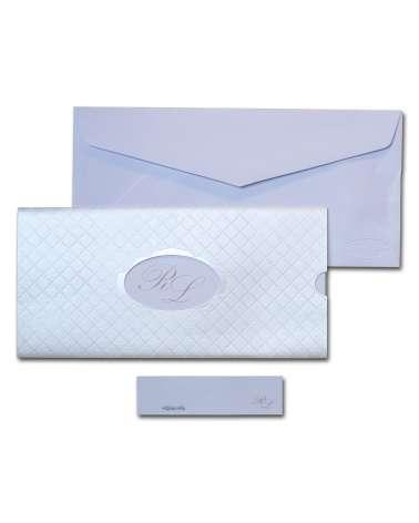 Partecipazione orizzontale in carta perlata con ovale