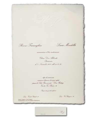 Partecipazione A4 carta avorio fatta a mano