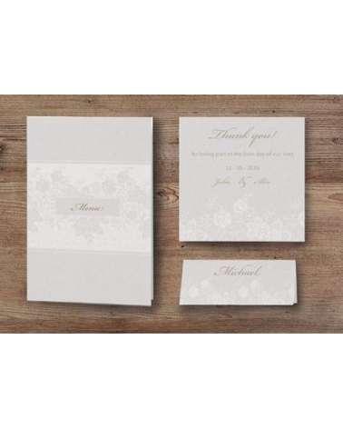 Partecipazione nozze con copertina trasparente decorata e nastro organza