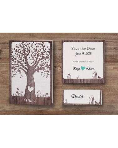 Partecipazione nozze con cuore inciso albero